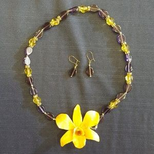 Tiki Orchid Necklace Set Coral Amethyst / Citrine